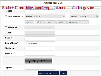 epfo uan activation at unified portal