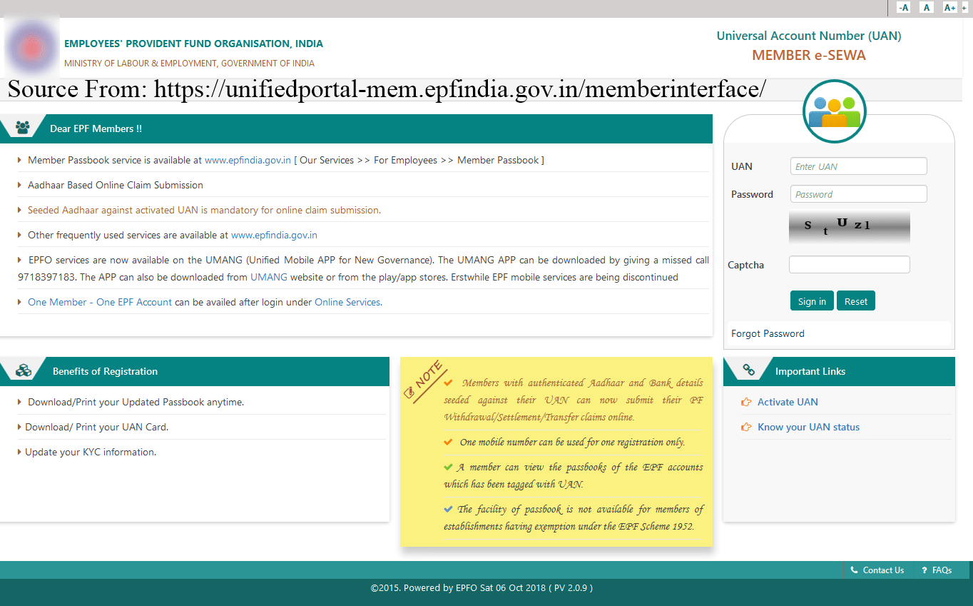 Services offered unifiedportal-mem.epfindia.gov.in