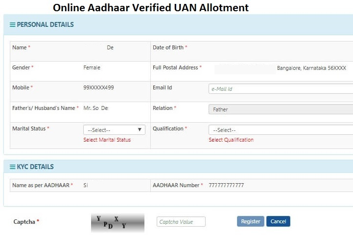 Online Aadhaar Verified UAN Allotment
